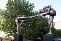 Cross the divide statue outside St Thomas Hospital, London, England, Europe stock photography