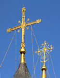 Cross on the dome of Christian Church Royalty Free Stock Photos