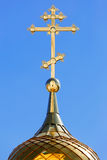 Cross with a dome in the Orthodox church. Royalty Free Stock Image