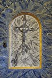 Cross, door of tabernacle on the altar in the Church of the Saint Barbara in Velika Mlaka, Croatia.  Royalty Free Stock Photo