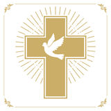 Cross with the dove. Church emblem template. Vector design element Stock Photo