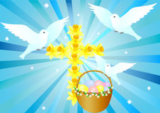 Cross with doves and easter basket. Cross from daffodils with doves and easter basket on blue background stock illustration