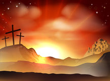 The Cross. Dramatic Christian Easter concept of Jesus and the two thieves crosses on Calvary hill outside the city walls Royalty Free Stock Photography