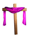Cross Draped in Purple. A cross with a purple cloth draped on it Royalty Free Stock Image