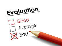 Cross drawn on evaluation check box Stock Photo