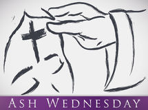 Cross Drawn in the Forehead of Parishioner for Ash Wednesday, Vector Illustration royalty free stock photos