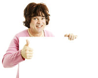 Cross Dresser with Sign - Thumbsup Stock Photography