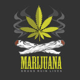 Cross drug and marijuana. Vector emblem Royalty Free Stock Photo