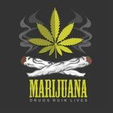 Cross drug and marijuana. Vector emblem Royalty Free Stock Photo