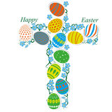 Cross of Easter eggs Royalty Free Stock Photography