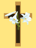 Cross with Easter lilies. Christian cross in brown and beige with Easter lilies Royalty Free Stock Image