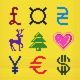 Cross embroidery pixel art currency christmas scheme Stock Images
