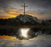 Cross and empty tomb Royalty Free Stock Image