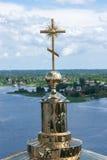 Cross on Epiphany Cathedral of the Nilo-Stolobenskaya desert Stock Photo