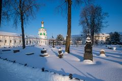 Tolgskij convent courtyard in winter. royalty free stock photos