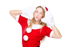 Cross eye and pout lip christmas girl Royalty Free Stock Images