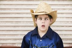 Cross-Eyed Boy in a Cowboy Hat Royalty Free Stock Image