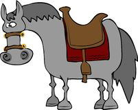Cross-eyed Horse. This illustration depicts a gray, cross-eyed horse Royalty Free Stock Photo