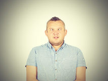 Cross-eyed man, funny faces. Royalty Free Stock Photos