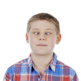 Cross-eyed young boy. On white background Royalty Free Stock Image