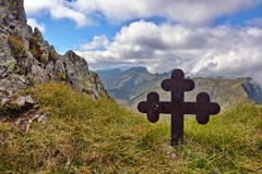Cross in Fagaras Mountains Stock Photos