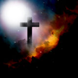 Cross Faith. An image showing the cross of Jesus Christ in the elements of weather, clouds and fire plus stars Stock Images