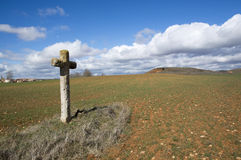 Cross in the field of Soria. Castilla Leon, Spain Royalty Free Stock Photos