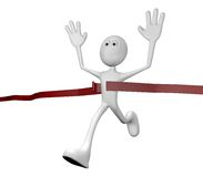 Cross the finish line. Cartoon character crossing the finishing line - 3d illustration Royalty Free Stock Images