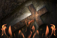 Cross in fire Stock Photography
