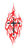 Cross in the fire. Black cross in the fire isolated on white background. Cool tattoo Stock Photos