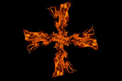 Cross fire flame,isolated Stock Images
