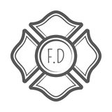 Cross firefighter vector illustration in monocrome vintage style. Design elements for logo, label, emblem Royalty Free Stock Photos