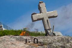 Cross in Fisterra, La Coruna Stock Photography