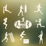 Cross Fitness silhouettes Royalty Free Stock Photography