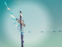 Cross and flags Stock Photo
