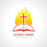 Cross on the flame bible church logo. Church logotype. Religious studying, reading, learning educational symbol, traditional isolated crucifixion template. Fiery Stock Photos