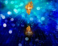 Cross in flames Royalty Free Stock Images