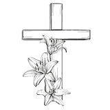 Cross and floral blooming lilies, a symbol of Christianity Stock Images
