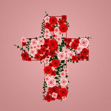 Cross of flowers Stock Photos