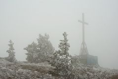 Cross in a fog Stock Photography