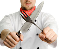Cross of fork and knife Stock Photo