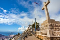 Cross on the fortress Imperjal on the mountain Sdr in Dubrovnik. Croatia royalty free stock photography