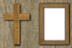 Cross and frame on old canvas Royalty Free Stock Images