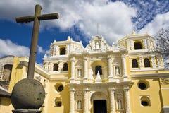 Cross in front of La Merced. In Antigua Stock Image