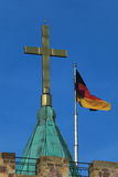 The Cross and the German Flag of the Wartburg Castle Stock Photo