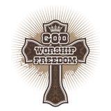 Cross God Worship Freedom. Christian illustration stock illustration