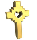 Cross in gold - 3D Royalty Free Stock Photography