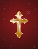 Cross gold on red background Stock Photography