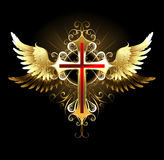 Cross with Golden Wings Royalty Free Stock Photography
