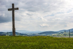 Cross. And grass in poland Royalty Free Stock Photo